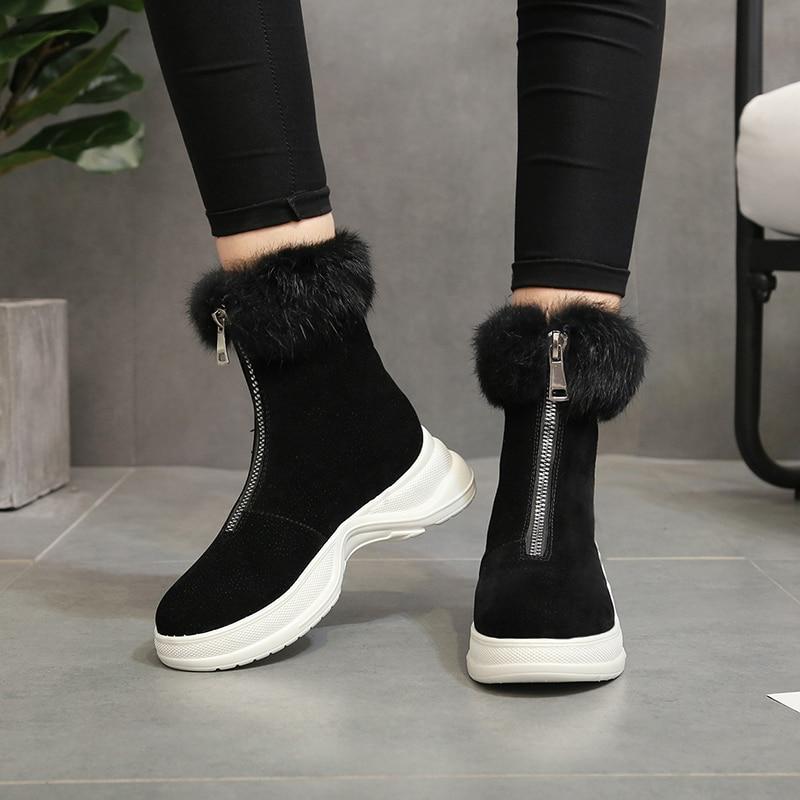 Shoes High-Top Sneakers Platform Outdoor Femme Women New Warm Fur Girls Woolen Snow-Boots