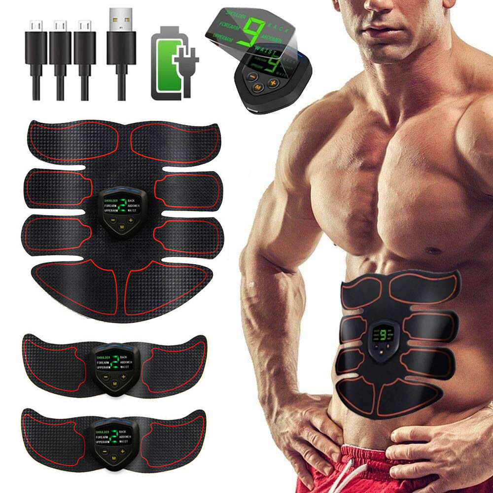 Abs Trainer Fitness Training Gear EMS Abdominal Muscle Stimulator With LCD Display USB Rechargeable Home Gym Electrostimulation