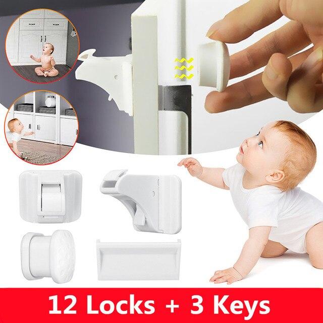 12+3 set Magnetic Child Lock Children Protection Baby Safety Lock Drawer Latch Cabinet Door Lock Limiter Children Security Locks 1