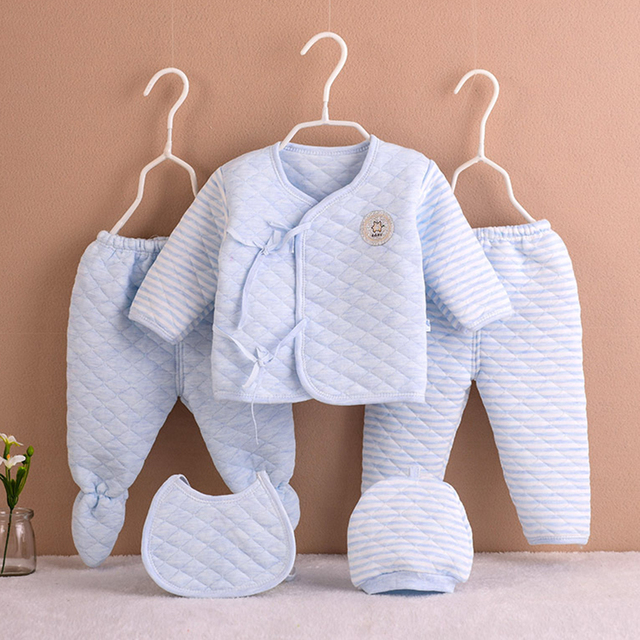 5Pcs/set Newborn Baby Cotton Clothes Set Infant Baby Girls Boys Warm Thickening Underwear Suit Toddler Outfit for New Born Gifts 2