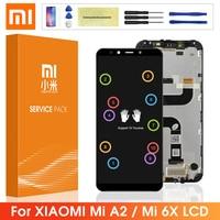 Xiaomi Mi A2 MiA2 LCD 디스플레이 터치 스크린 디지타이저 어셈블리, 6X Mi6X LCD 화면 프레임 포함
