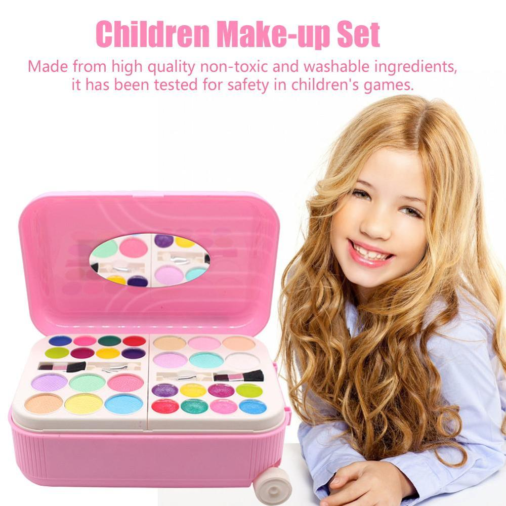 Kid Makeup Set Toys Suitcase Dressing Cosmetics Girls Toy Plastic Safety Beauty Pretend Play Children Makeup Girl Games Gifts image