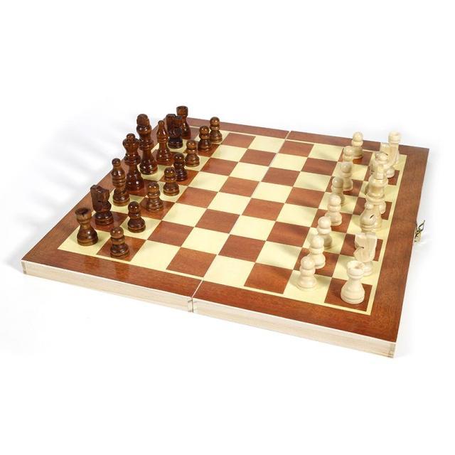 Drôle pliant 34cm X 34cm en bois International échecs ensemble pliable jeu de société Portable jeux de voyage de société 2