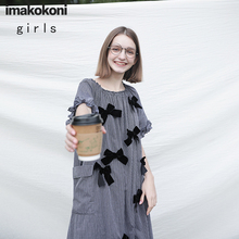 Long-Dress Imakokoni Japanese Striped Summer And 182304 Bow Gray Loose Female Sweet Original