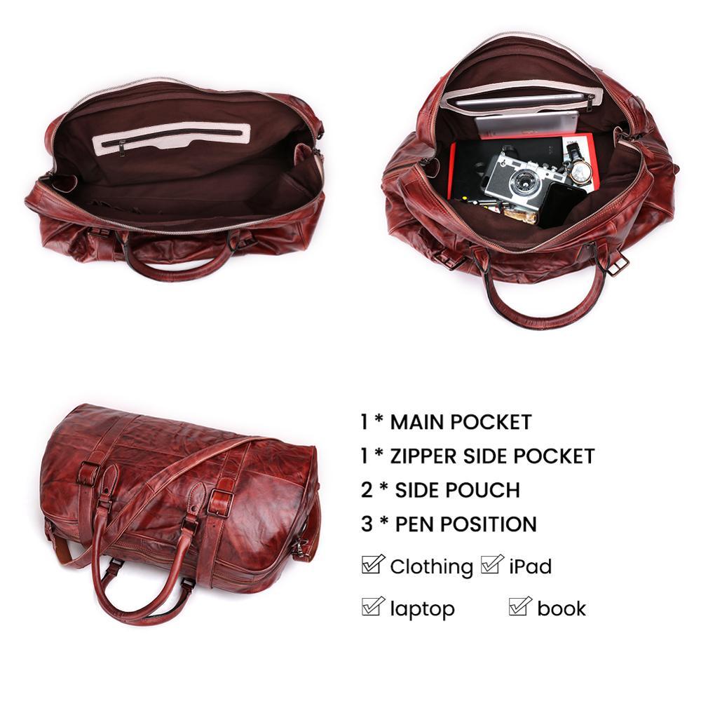 JOGUJOS Homens Duffel Bag dos homens de Couro Genuíno Bolsa Saco Saco de Viagem Bagagem Bolsa de Ombro Projeto Duffle Bag Weekend Tote Do Vintage homens - 6