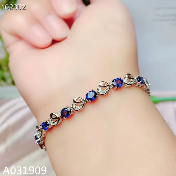 KJJEAXCMY boutique jewelry 925 sterling silver inlaid Natural sapphire fine female Bracelet support detection trendy