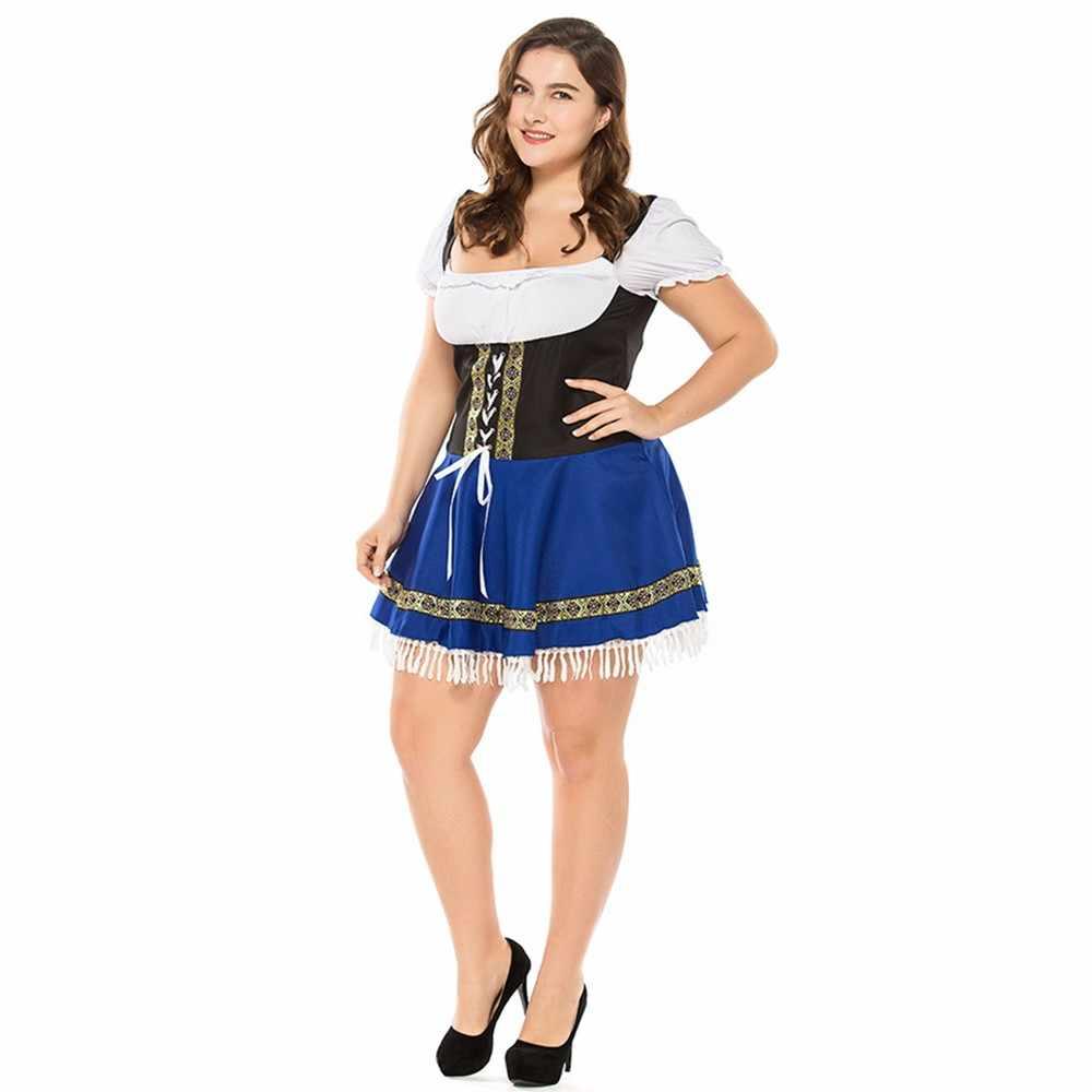 Seksi Mavi Alman Oktoberfest Bira kadın kostümü Bavyera Geleneksel Parti Bayanlar Wench Bira Hizmetçi Dirndl Elbise