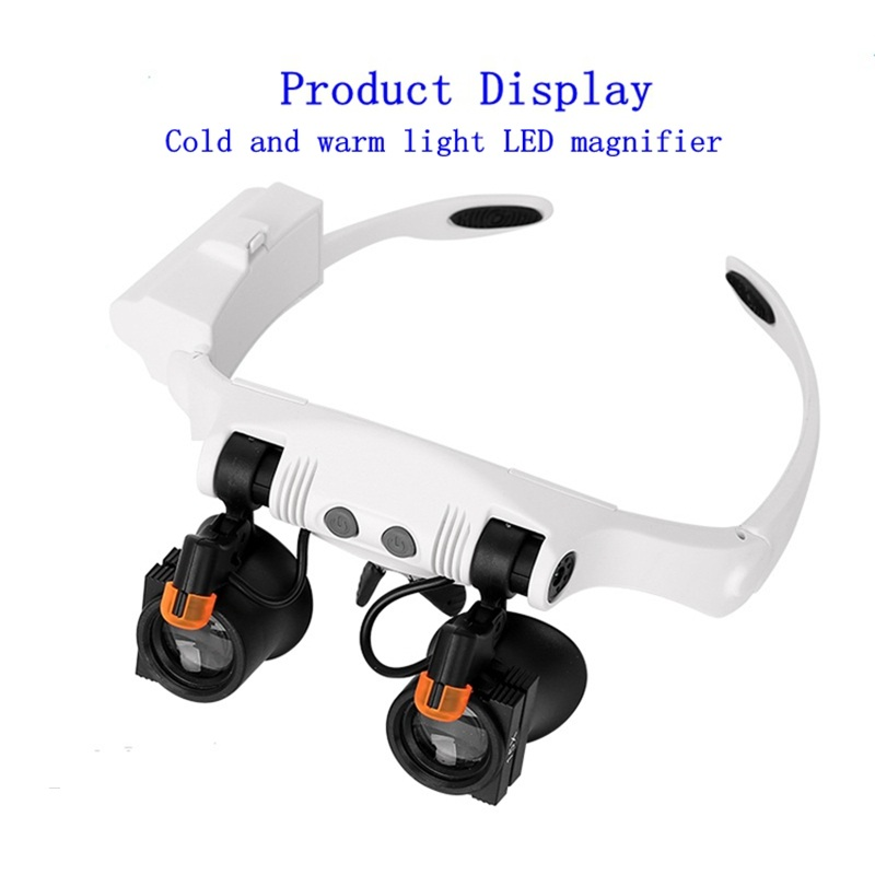 3X 4X 5X 6X 7X 10X LED Magnifier Cold Warm LED Light Glasses Magnifiers Double Eye Jewelery Watch Repair Loupe Magnifying Glass