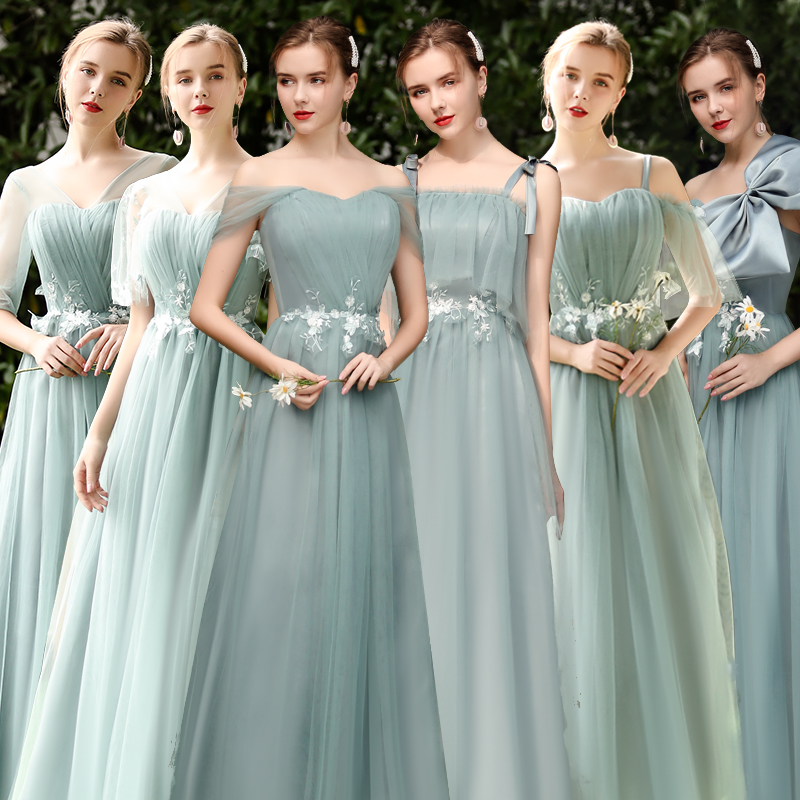 Forest Green Tulle Bridesmaids Dresses Elegant Guest Wedding Party Dress Sister V-neck Long Sexy Dress Prom Azul Royal Vestidos