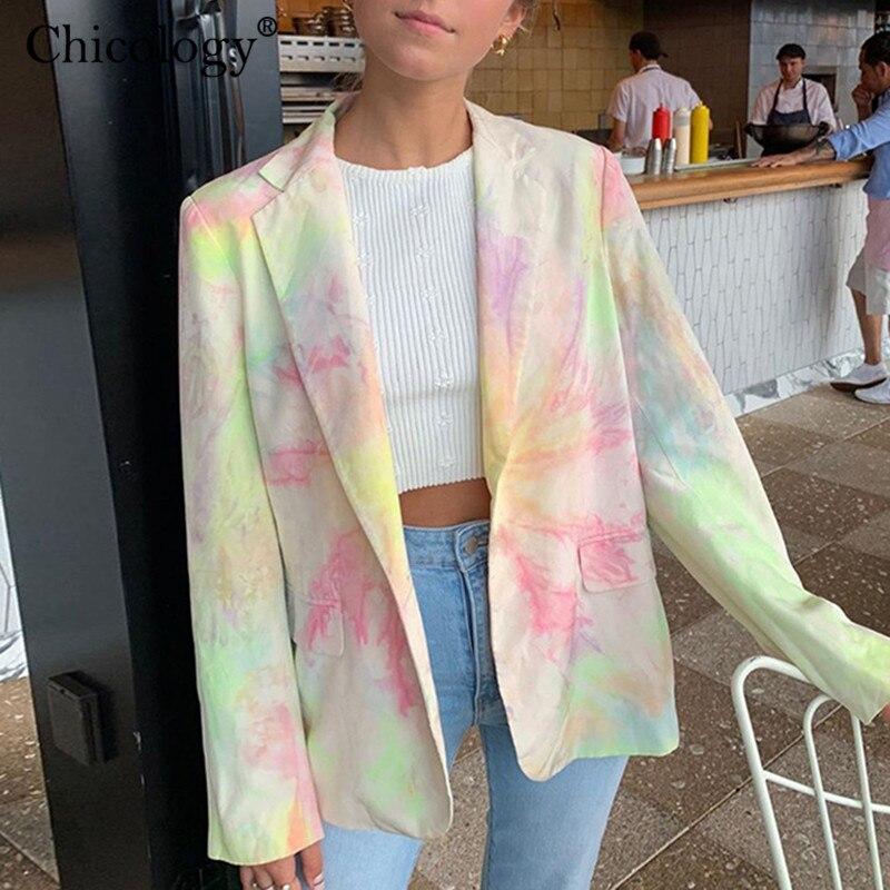 Chicology Women Tie Dye Blazer Jacket Suit Female Coat Long Sleeve Streetwear 2019 Autumn Winter Casual Lady Windbreak Clothes