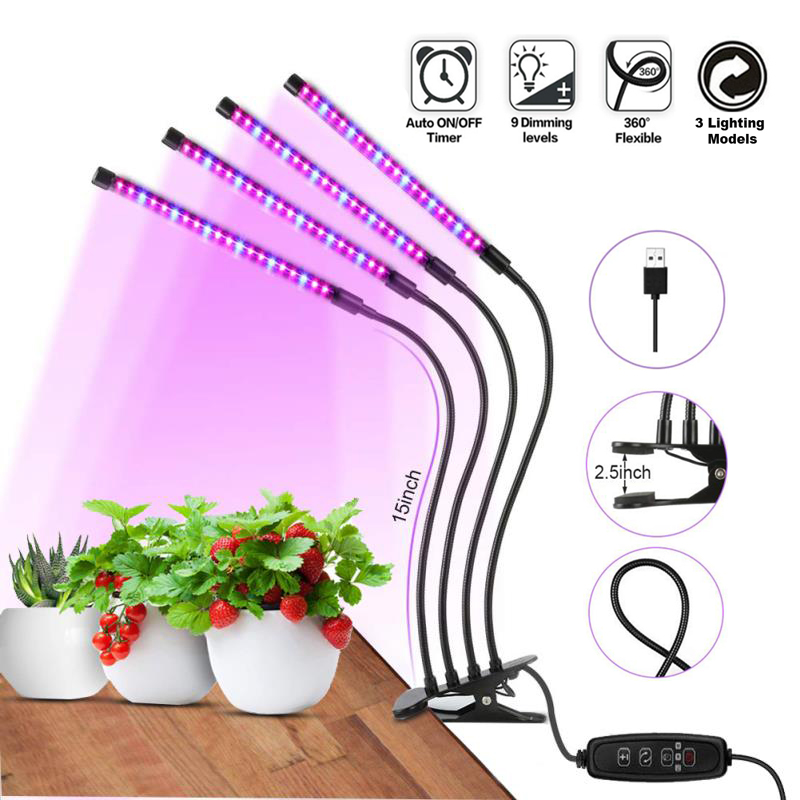 Grow Light Plant 40W LED Grow Light  Clip on USB LED Full Spectrum Phyto Lamp For Indoor Vegetable Flowers Plant Growth Lighting|Growing Lamps| |  - title=