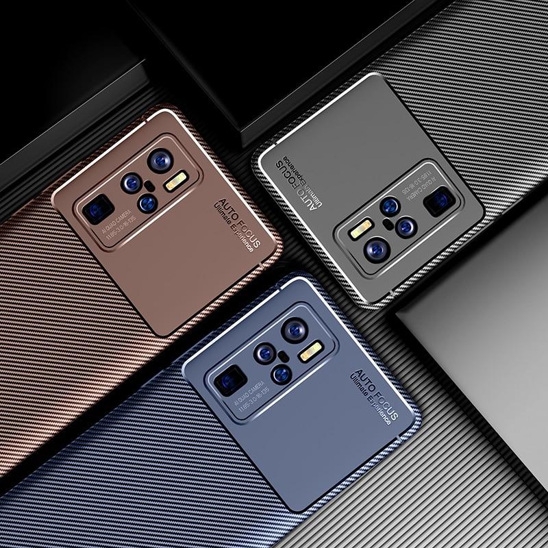 Чехол для телефона VIVO X50 Pro Plus, роскошный чехол из углеродного волокна, Мягкий ТПУ силиконовый чехол-бампер для VIVO X 50 X50 Pro +