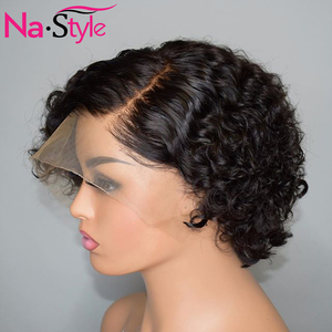 Image 2 - Pixie Cut Lace Wig Preplucked Blunt Cut Bob Lace Front Wigs Short Human Hair Wigs 150 250 Curly 13x4 Lace Front Human Hair Wigs