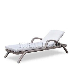 1 pieza de ratán reclinable al aire libre Silla de playa Patio al aire libre piscina de Hotel sofá cama reclinable Silla de playa de ocio