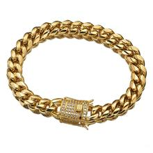 8-18mm Cuban Miami Chain Bracelet Gold Stainless Steel Box Lock Link Chains Bracelets & Bangles for Men Hip Hop Rock Jewelry
