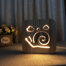 creative cute Snails 3D wooden hollow Led Night Light bedroom living room warm desk Lamp home decor USB table light все цены