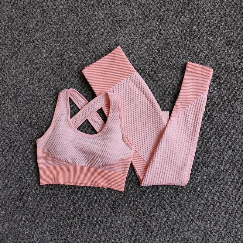 BraPantsOrange - Women Seamless Fitness Yoga Suit Color-blocked Sportwear