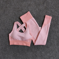 BraPantsOrange - Women Seamless Fitness Yoga Suit Color-blocked Sportwear