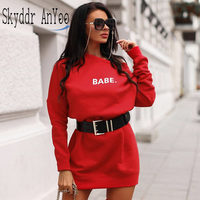 Letter Print Sweatshirt Women O-Neck Long Sleeve Red Oversize Hoodie Dress Casual Streetwear Kpop Clothes Top Loose Sweat Femme