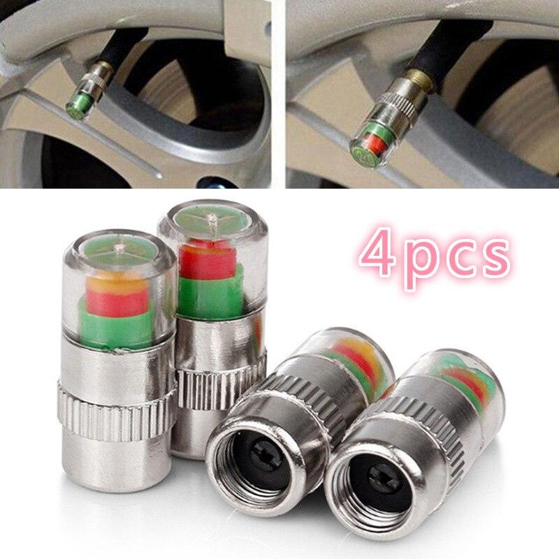 4PCS Car Tire Pressure Gauge Indicator Alert Monitoring Valve Cap Sensor Wheel Tires Valves Tyre Stem Air Caps Airtight Cover