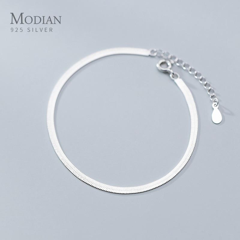 Modian классический браслет из стерлингового серебра 925 пробы или браслет для женщин Регулируемая цепочка из змеиных костей ювелирные украшения 2020 дизайн|Гибкие и жесткие браслеты|   | АлиЭкспресс