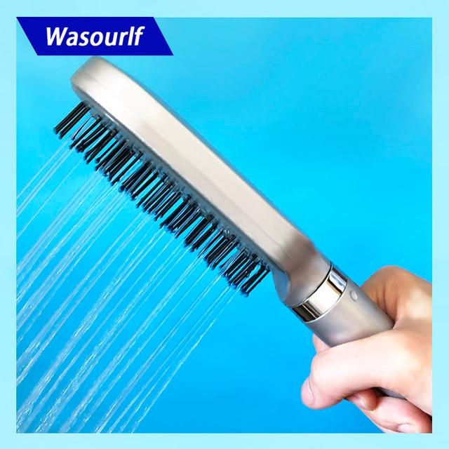 Wasourlf Cabezal de ducha Oxygenics, cabezal de ducha cuadrado presurizado, baño de ducha, cepillo de pelo de plástico ABS, boquilla de ducha de baño