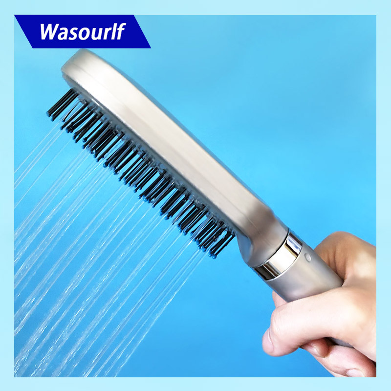 Wasourlf Oxygenics Comb Shower Head Boost Pressurize Square Hand Shower Bathroom ABS Plastic Clean Hair Brush Bath Shower Nozzle