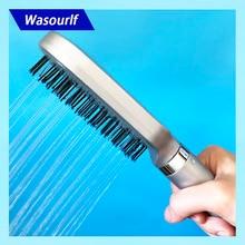 Wasourlf pomme de douche carrée à pression, peigne oxygénique, douche à main en plastique ABS, brosse à cheveux propre, buse de bain douche