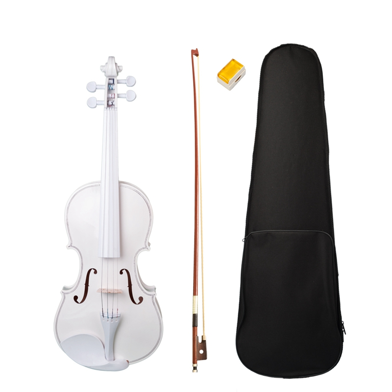 Dropship-Student Violin 4/4 Full Size Violin Violin Set Child Beginner White Violin