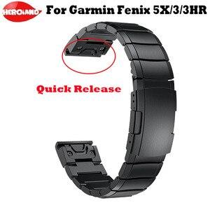 Image 1 - 26 millimetri per Garmin Fenix 5X/5X Plus/Fenix 3/3HR/Sgancio Rapido Easy Fit In Acciaio orologio in acciaio Da Polso Da uomo orologi del braccialetto delle donne