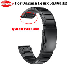 26mm Garmin Fenix 5X/5X artı/Fenix 3/3HR/hızlı serbest bırakma kolay Fit paslanmaz çelik saat kol erkek saatler kadın bilezik