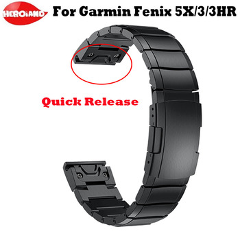 26mm for Garmin Fenix 5X/5X Plus/Fenix 3/3HR/ Quick Release Easy Fit Stainless steel Watch Wrist men's watches women's bracelet quick easy fit genuine leather watchband 26mm for garmin fenix 5x 3 3hr watch band stainless steel clasp strap wrist bracelet