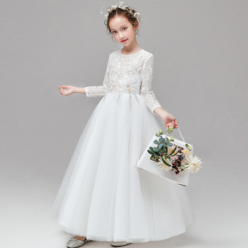 3~14Years Children Girls Solid White Color Birthday Wedding Party Princess Mesh Dress Baby Kids First Communication Host Dress