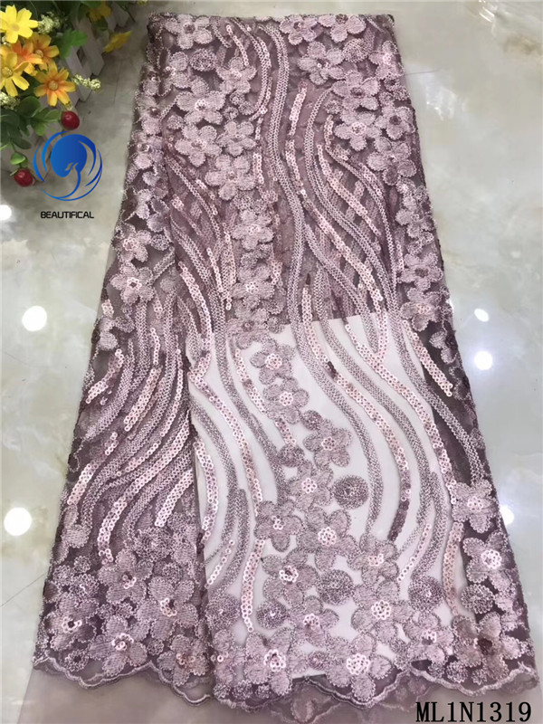 BEAUTIFICAL African Lace Tulle Lace Tissu Sewing Fabric 5 yards High Quality Sequins Embroidery French Net Lace 2019 ML1N1319