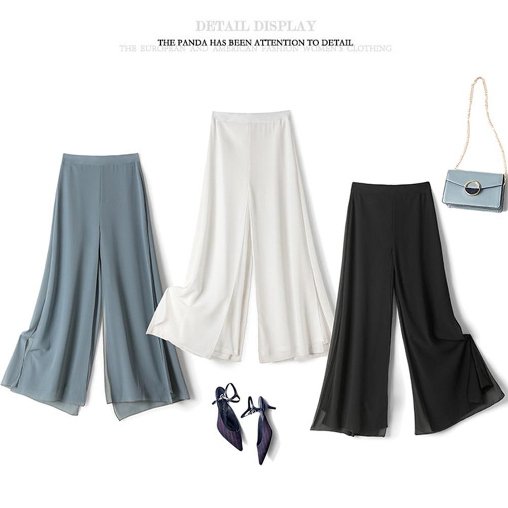 Popular Women Ice Silks Chiffon Wide-Legged Pants Summer Casual Loose Fake Two Piece Pants Skirt Fashion Light refreshing Pants