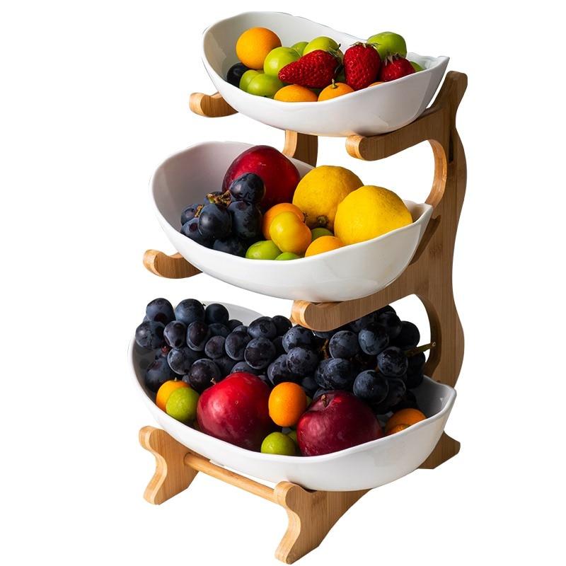 Домашняя трехуровневая тарелка для фруктов в гостиную, пластиковая тарелка для закусок, креативная Современная корзина для сушеных фруктов, пластиковое блюдо, тарелка для конфет-2