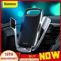 Baseus 15W Qi Wireless Car Charger Phone Holder for iPhone Samsung QC 3.0 Wireless Charging Air Vent Mount Mobile Holder Stand|Phone Holders & Stands| |  -