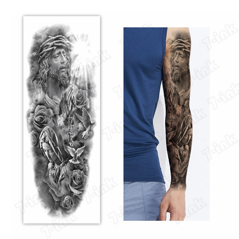 Waterproof Temporary Tattoo Sticker Jesus Goddess Cross Rose Pigeon Full Arm Fake Tatto Flash Tatoo Sleeve Tato For Men Women
