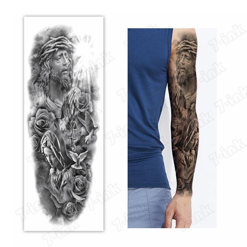 Waterproof Temporary Tattoo Sticker Jesus Goddess Cross Rose Pigeon Full Arm Fake Tatto Flash Tatoo Sleeve Tato For Men Women