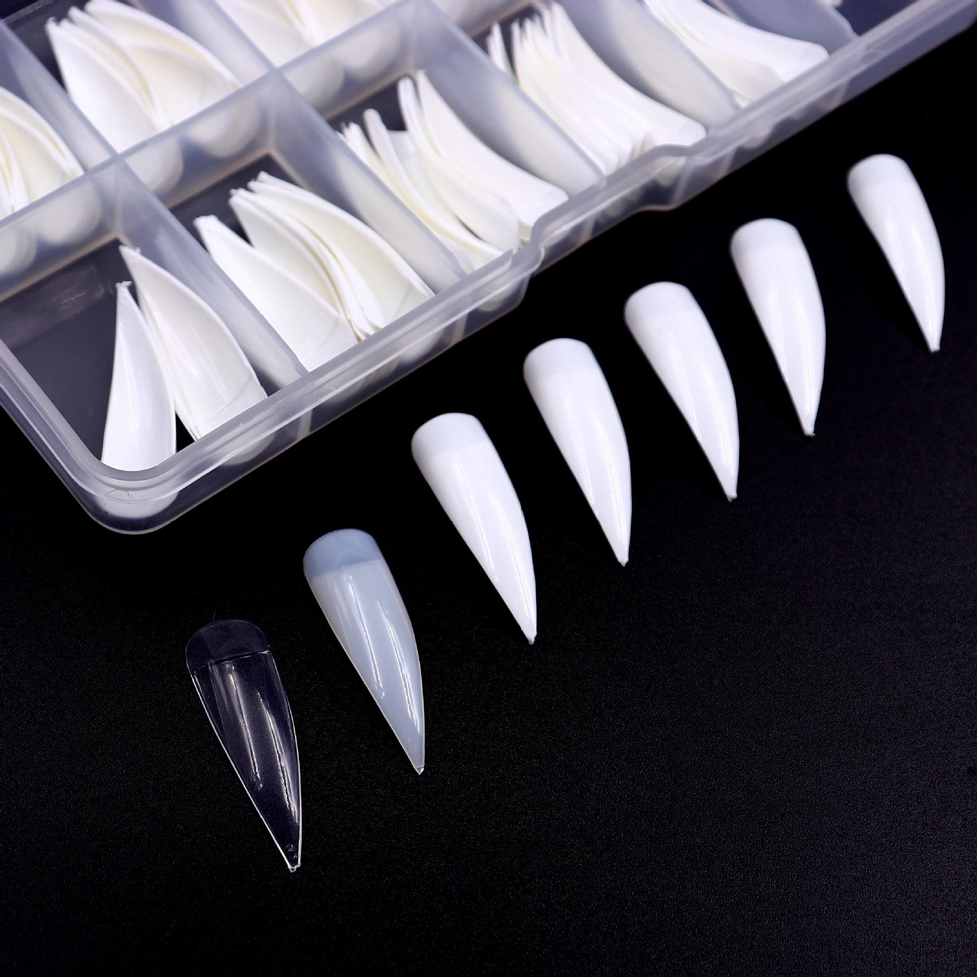 500 PCs OPP Bag Manicure Salon Pointed-Toe Long Nail Tip DIY Fake Nails Patch Art Nail Tip