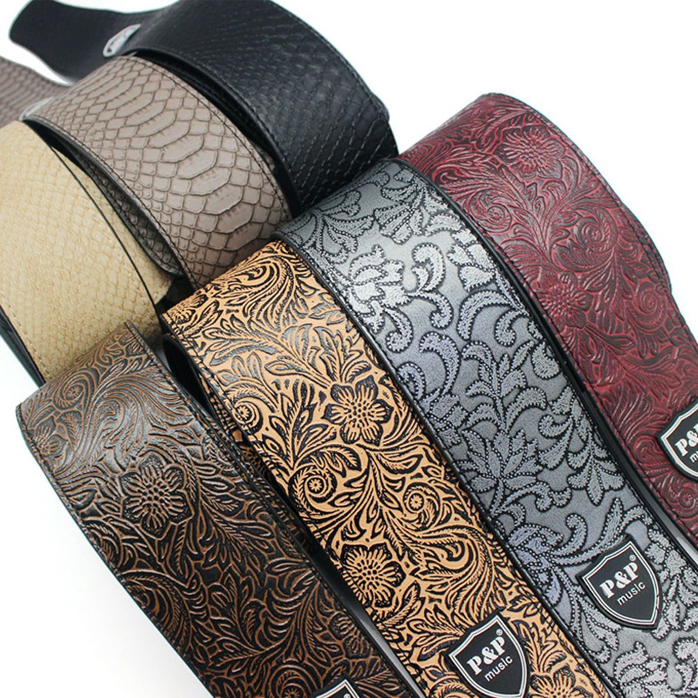 P&P Genuine Leather Guitar Strap 2.5-inch Adjustable Soft Strap For Classical Bass Music Guitar Accessories New