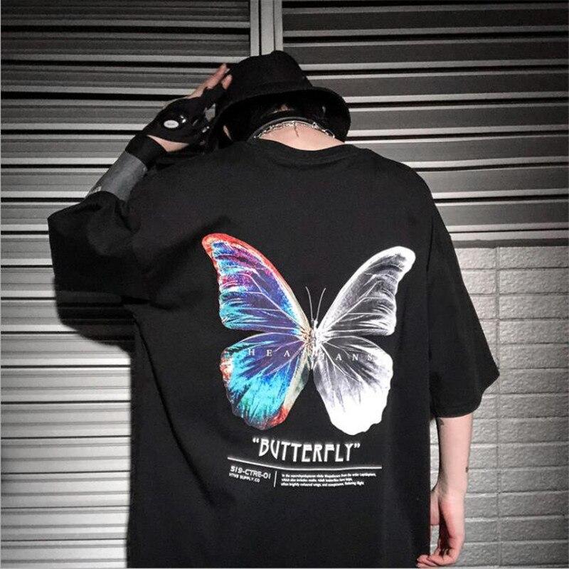 Dropshipping Hip Hop T-Shirt Oversize Harajuku Fashion Streetwear For Women Color Butterfly Tshirt Short Sleeve Cotton T-Shirt