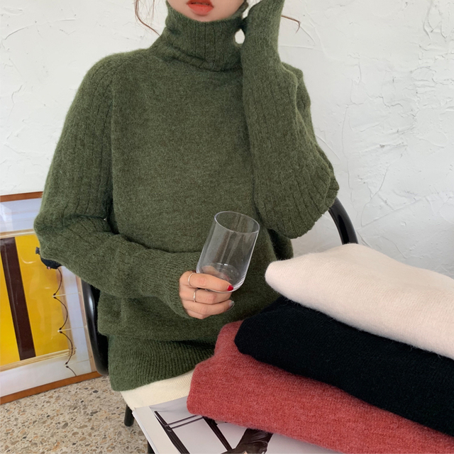 Ailegogo Winter Women Turtleneck Sweater Casual Female Knitted Long Sleeve Loose Pullovers Solid Color Ladies Korean Style Tops 1