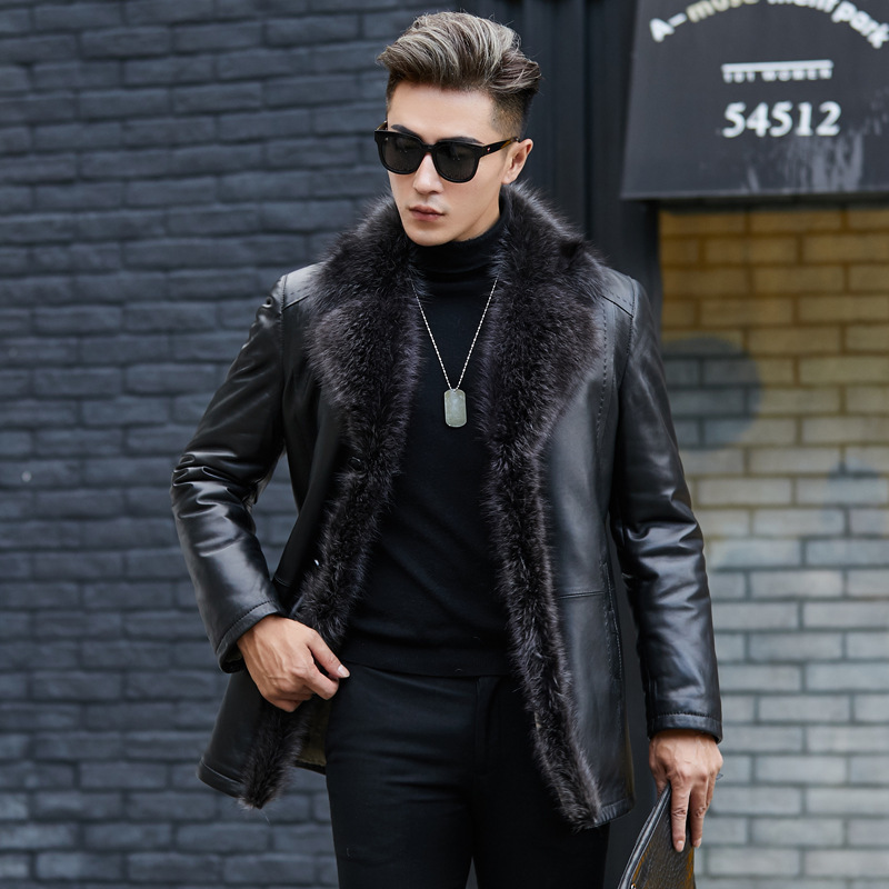 Raccoon Dog Fur Collar Real Genuine Leather Jacket Men Wool Liner Tops Winter Men's Sheepskin Coat ZT5010