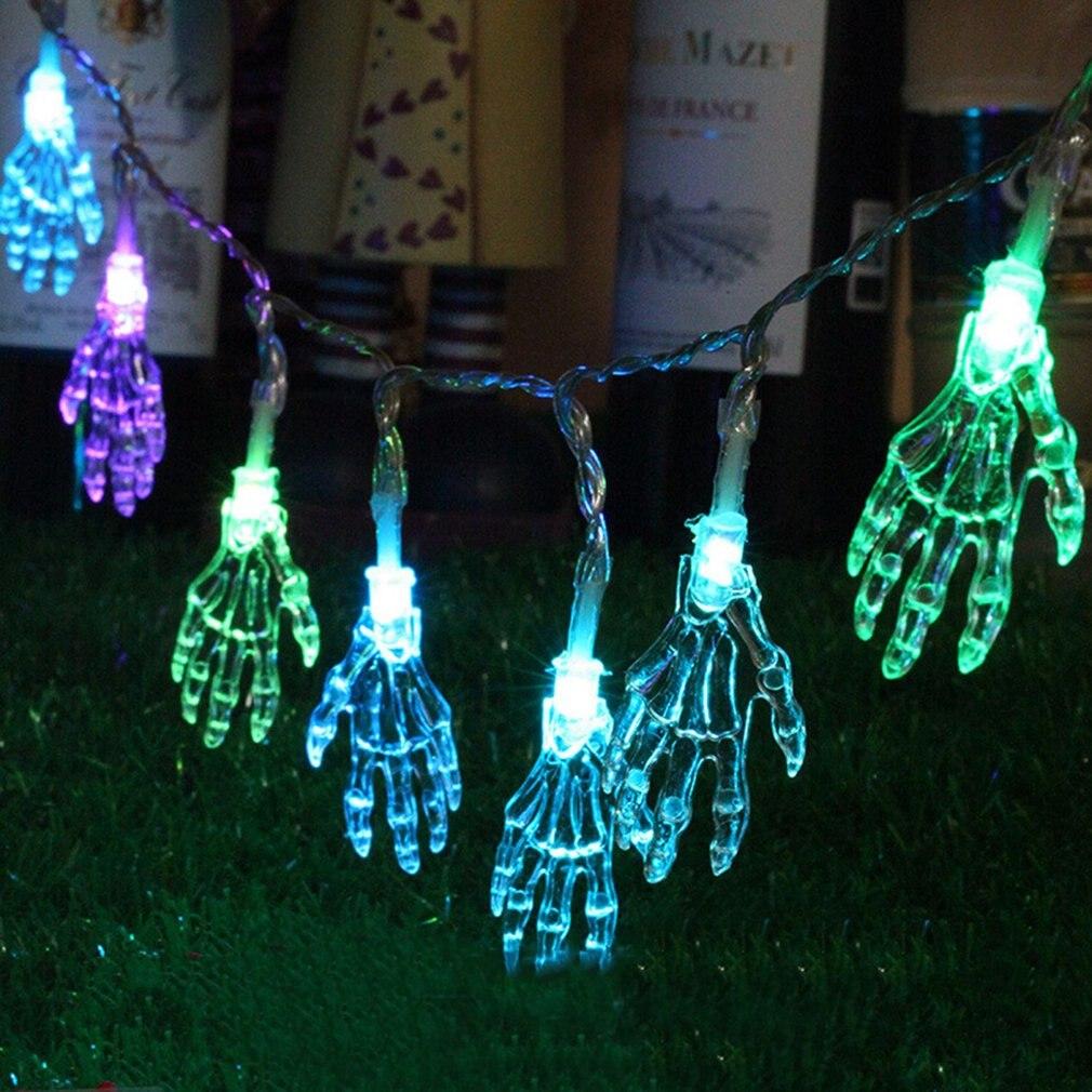 Mini Led Light String With Skeleton Hand Halloween Gift Skeleton Light Party Garden Home Holiday Lamp Decoration Lights