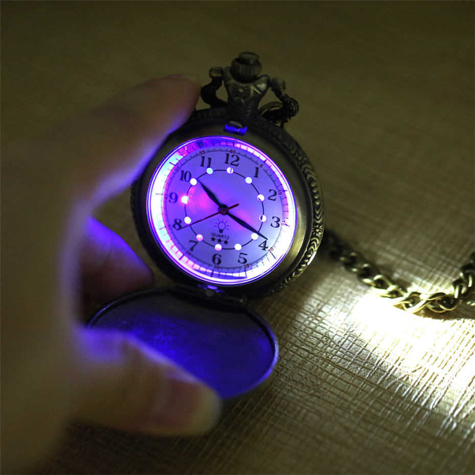 Creative LED Light Arabic Numerals Display Bronze Steampunk Train Quartz Pocket Watch Retro Punk Pocket Chain Men Women Clock