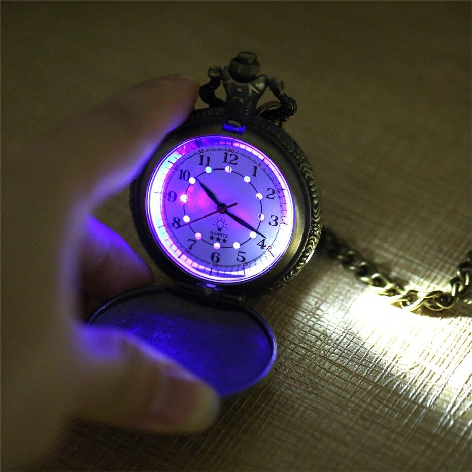 Twórczy wyświetlacz LED Light cyfry arabskie brązowy Steampunk pociąg kieszonkowy zegarek kwarcowy Retro Punk łańcuszek kieszonkowy mężczyźni kobiety zegar