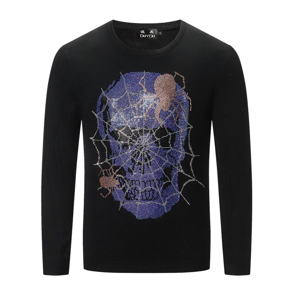 DUYOU Autumn Men's Fashion Trend Comfortable Cotton Rhinestone Spider Web Skull Casual Sweater Top Menswear 2019 Male Sweater