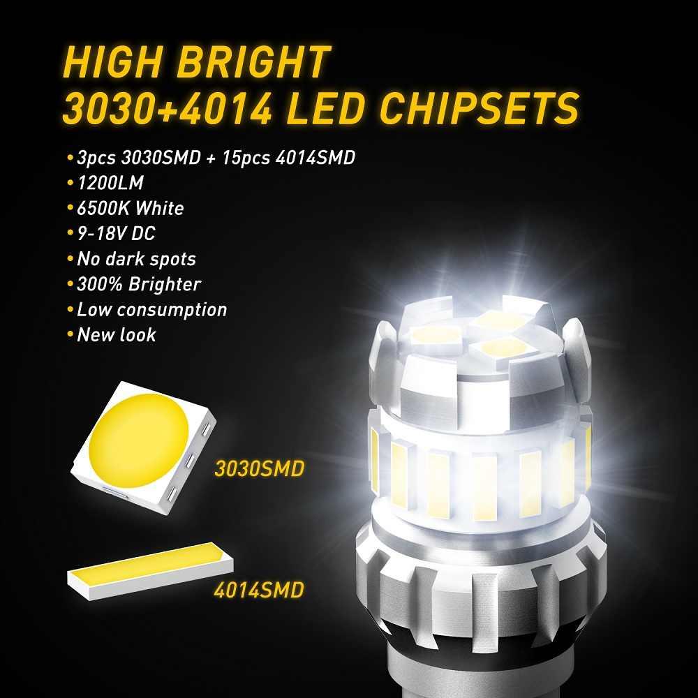 AUXITO 1200Lm W16W T15 żarówki LED canbus obc wolne od błędów dodatkowa lampa LED 921 912 W16W samochód światło cofania dla BMW AUDI Mercedes benz