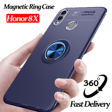 6.5 Luxury Magnet Silicone Case For Huawei Honor 8X car phone holder 8x shockproof Cover honor magnetic ring case